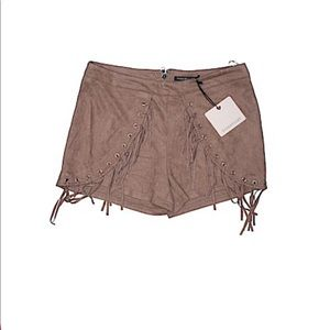 Light Brown Rosebullet LF Faux Leather Shorts